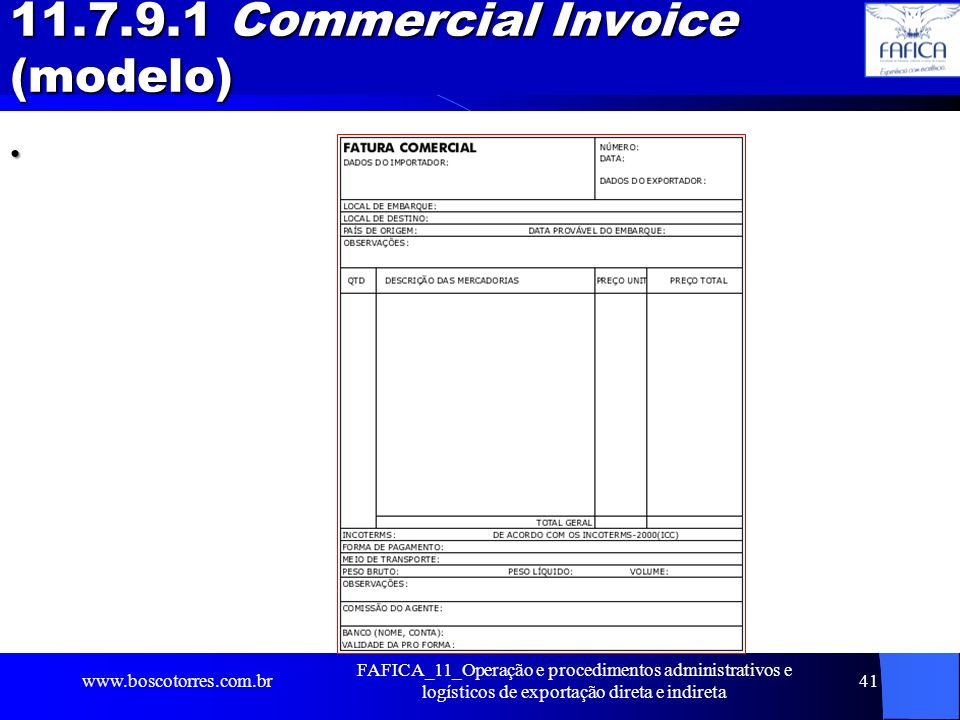 11.7.9.1 Commercial Invoice (modelo)