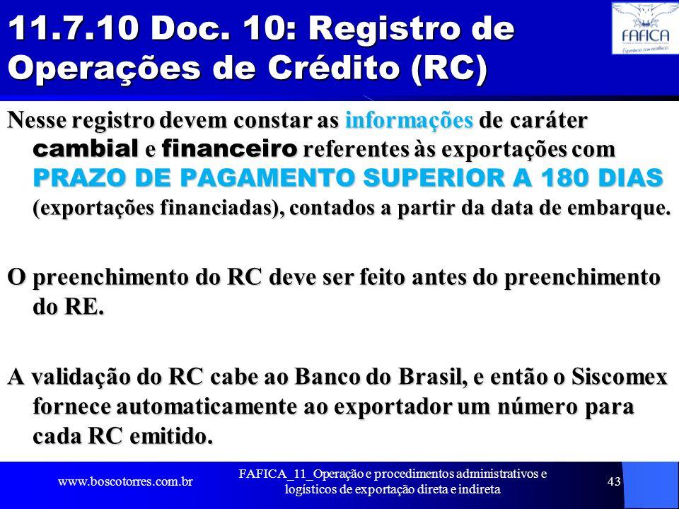 11.7.10 Doc. 10: Registro de Operações de Crédito (RC)