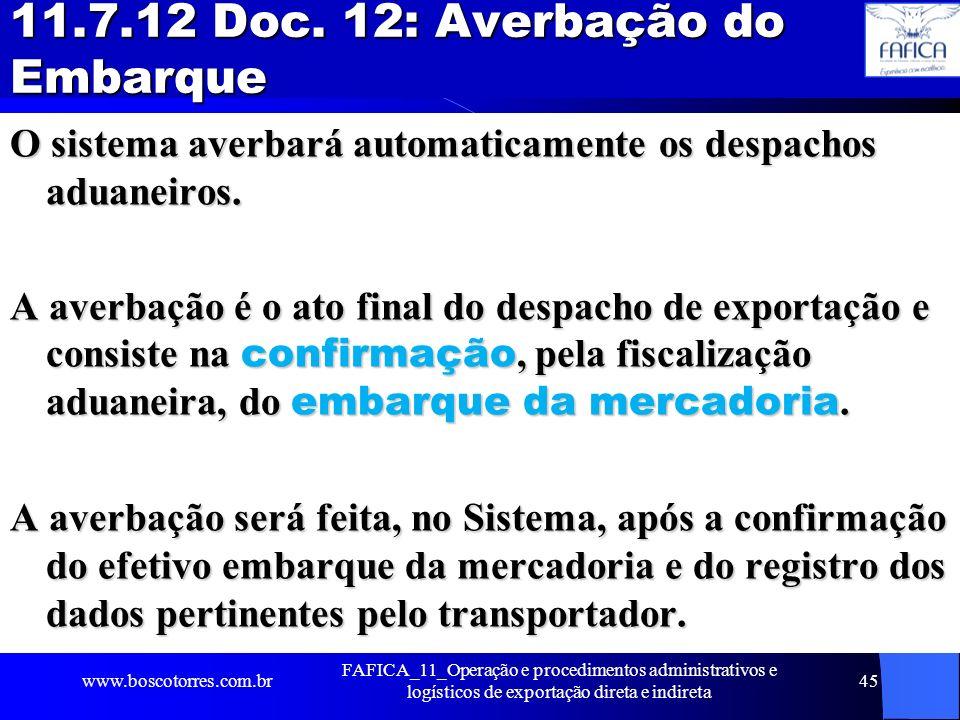 11.7.12 Doc. 12: Averbação do Embarque
