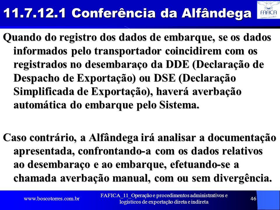 11.7.12.1 Conferência da Alfândega