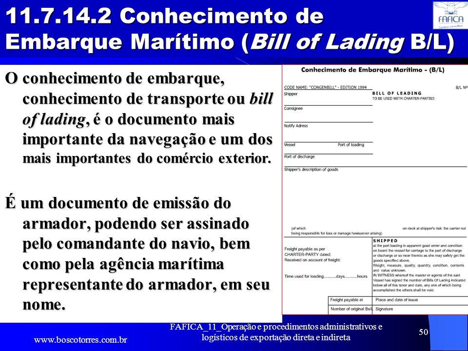 11.7.14.2 Conhecimento de Embarque Marítimo (Bill of Lading B/L)