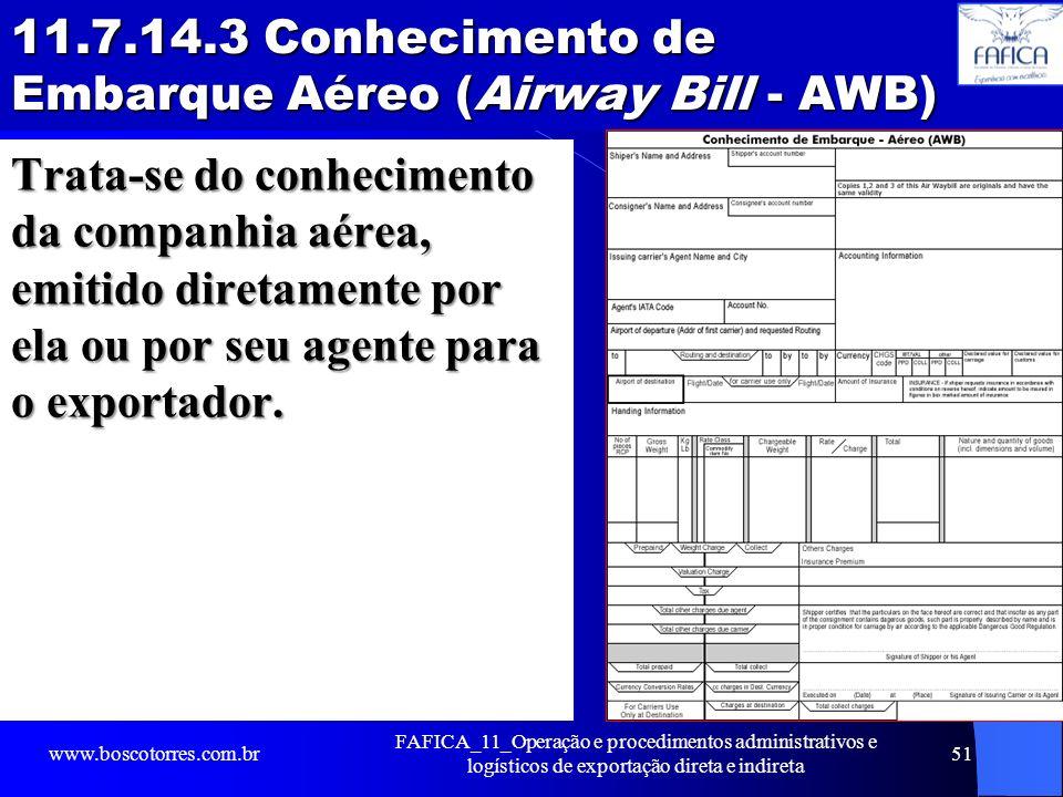 11.7.14.3 Conhecimento de Embarque Aéreo (Airway Bill - AWB)