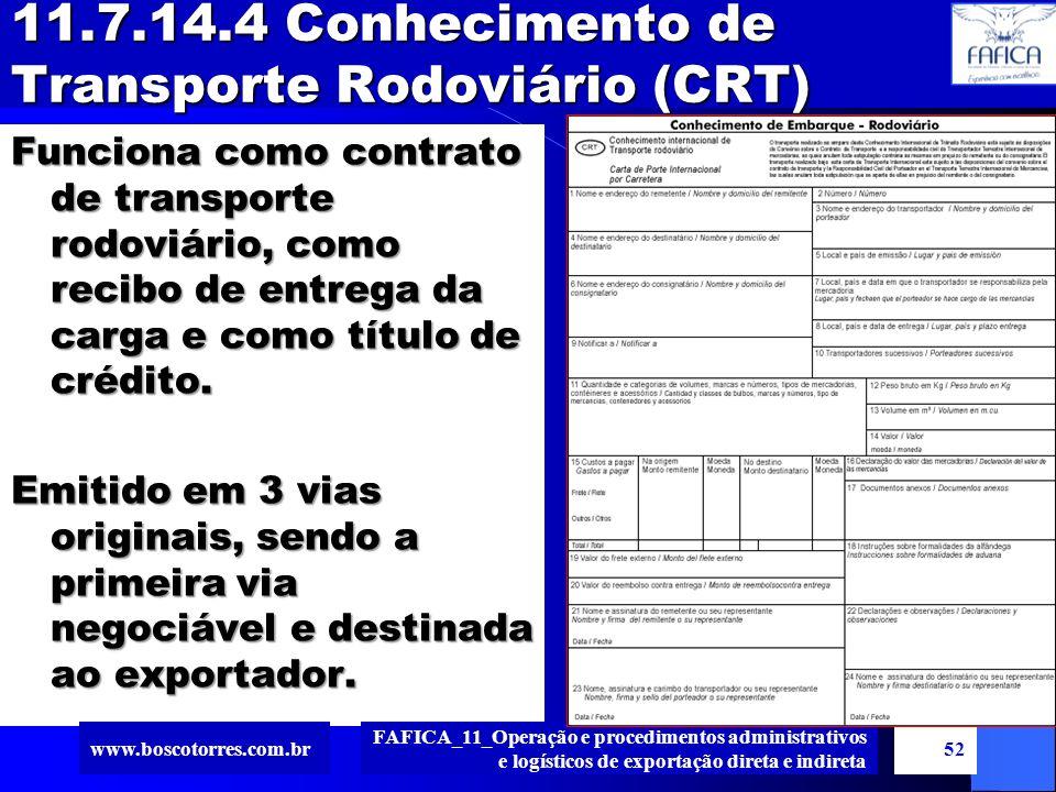11.7.14.4 Conhecimento de Transporte Rodoviário (CRT)