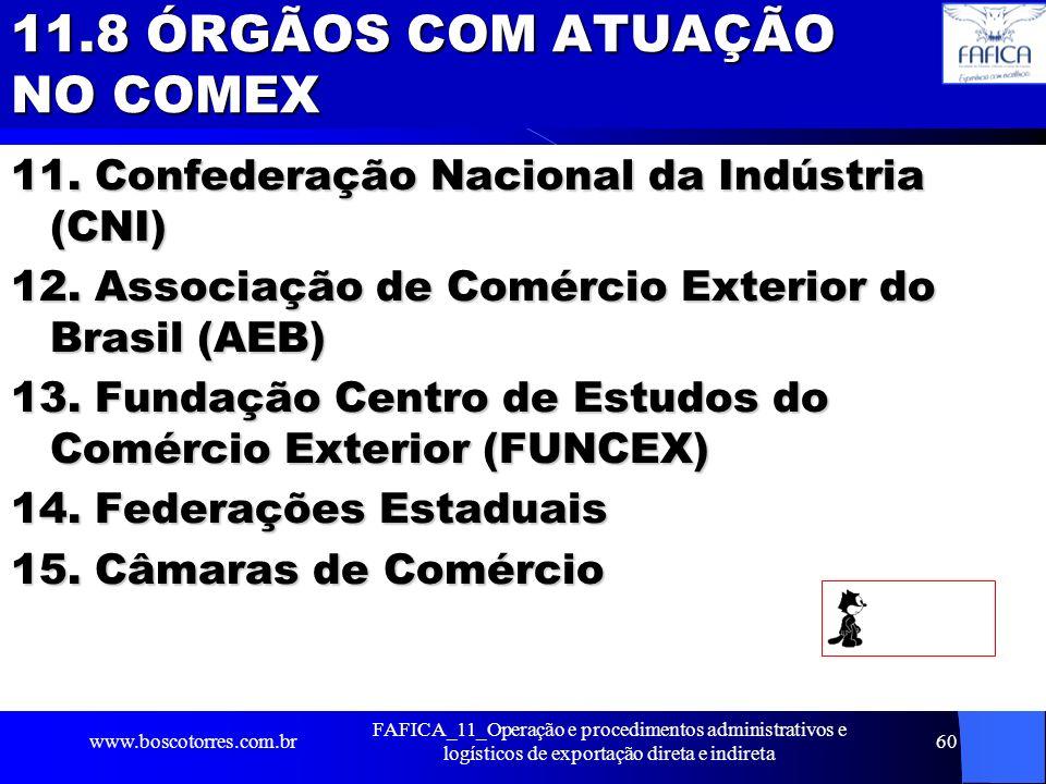 11.8 ÓRGÃOS COM ATUAÇÃO NO COMEX