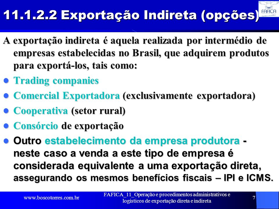 11.1.2.2 Exportação Indireta (opções)