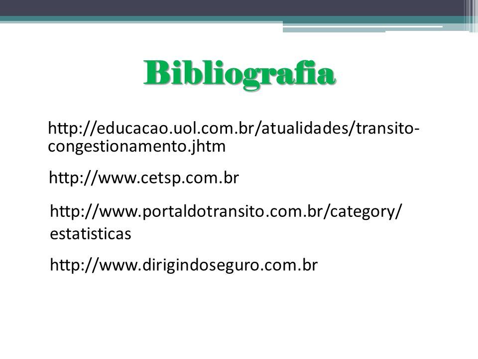 Bibliografiahttp://educacao.uol.com.br/atualidades/transito- congestionamento.jhtm. http://www.cetsp.com.br.