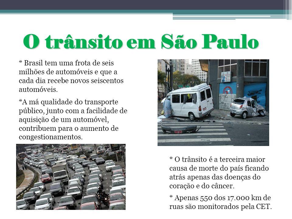 O trânsito em São Paulo* Brasil tem uma frota de seis milhões de automóveis e que a cada dia recebe novos seiscentos automóveis.