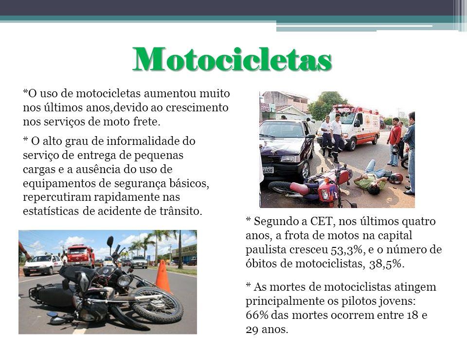 Motocicletas*O uso de motocicletas aumentou muito nos últimos anos,devido ao crescimento nos serviços de moto frete.