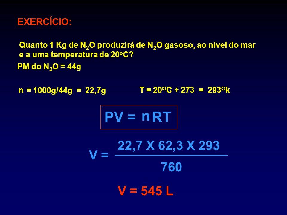 n PV = RT 22,7 X 62,3 X 293 V = 760 V = 545 L EXERCÍCIO: