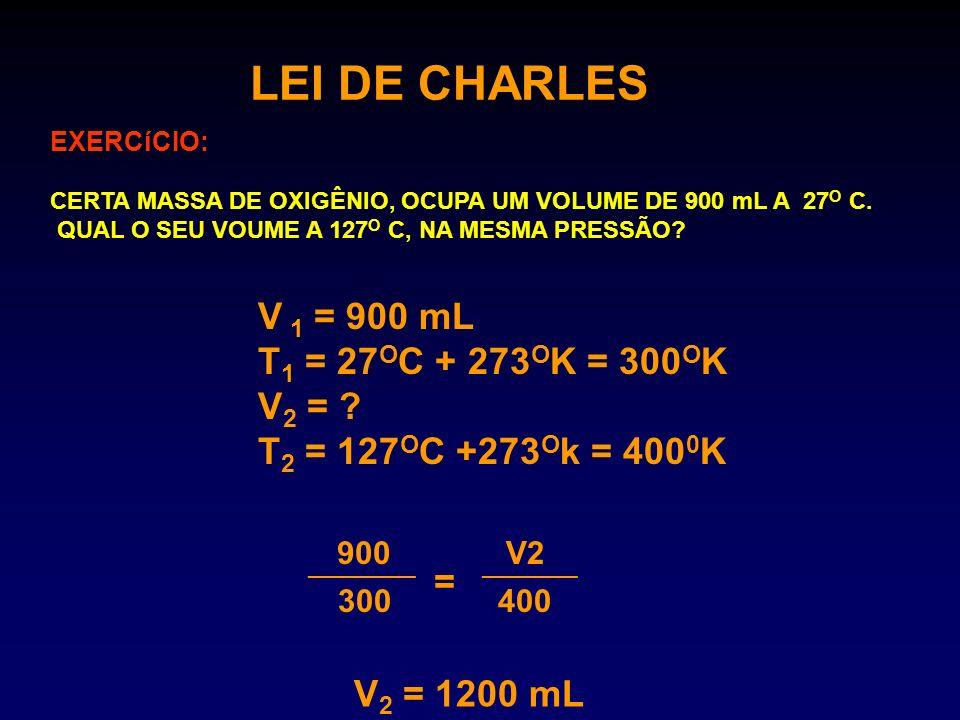 LEI DE CHARLES V 1 = 900 mL T1 = 27OC + 273OK = 300OK V2 =