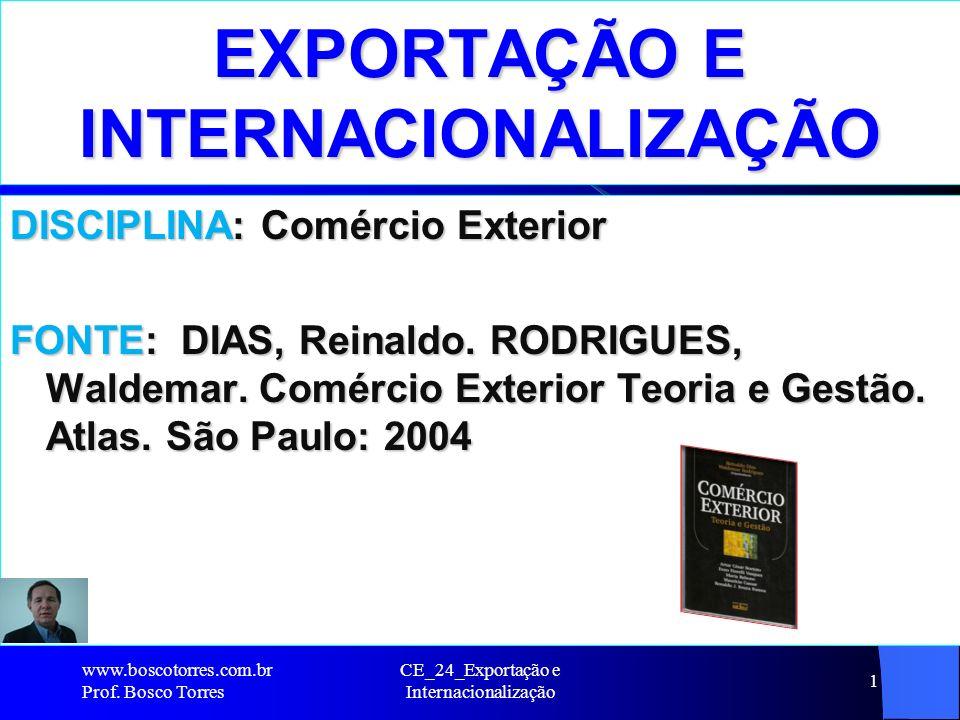 EXPORTAÇÃO E INTERNACIONALIZAÇÃO