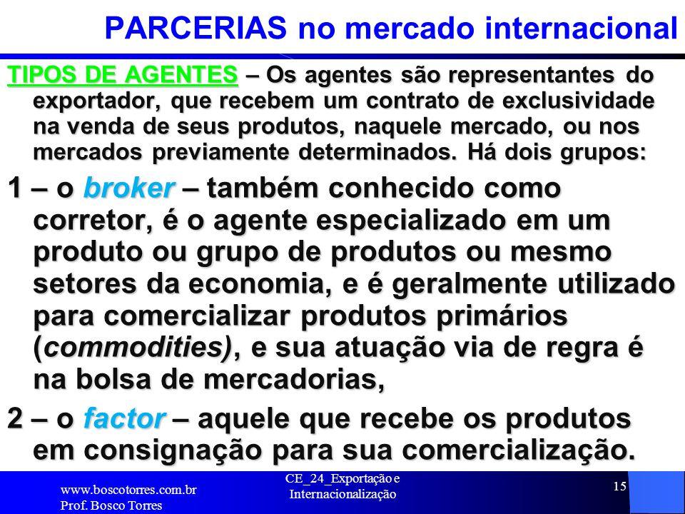 PARCERIAS no mercado internacional