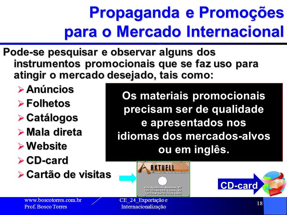 Propaganda e Promoções para o Mercado Internacional