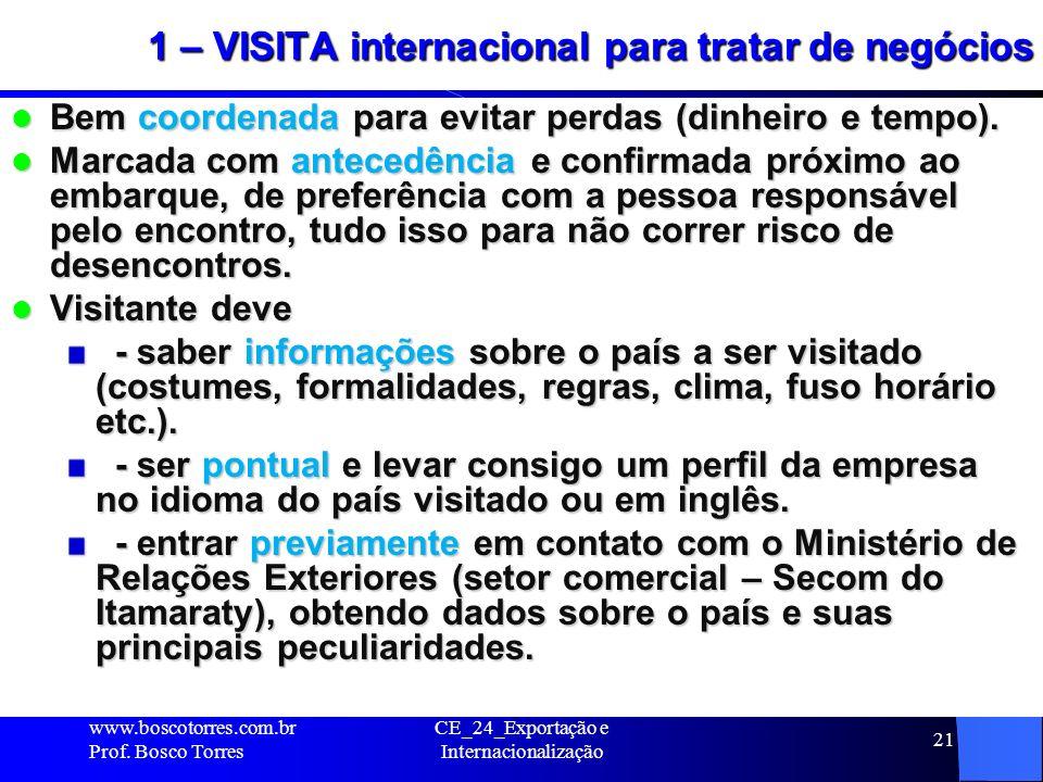 1 – VISITA internacional para tratar de negócios