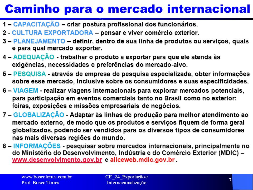 Caminho para o mercado internacional