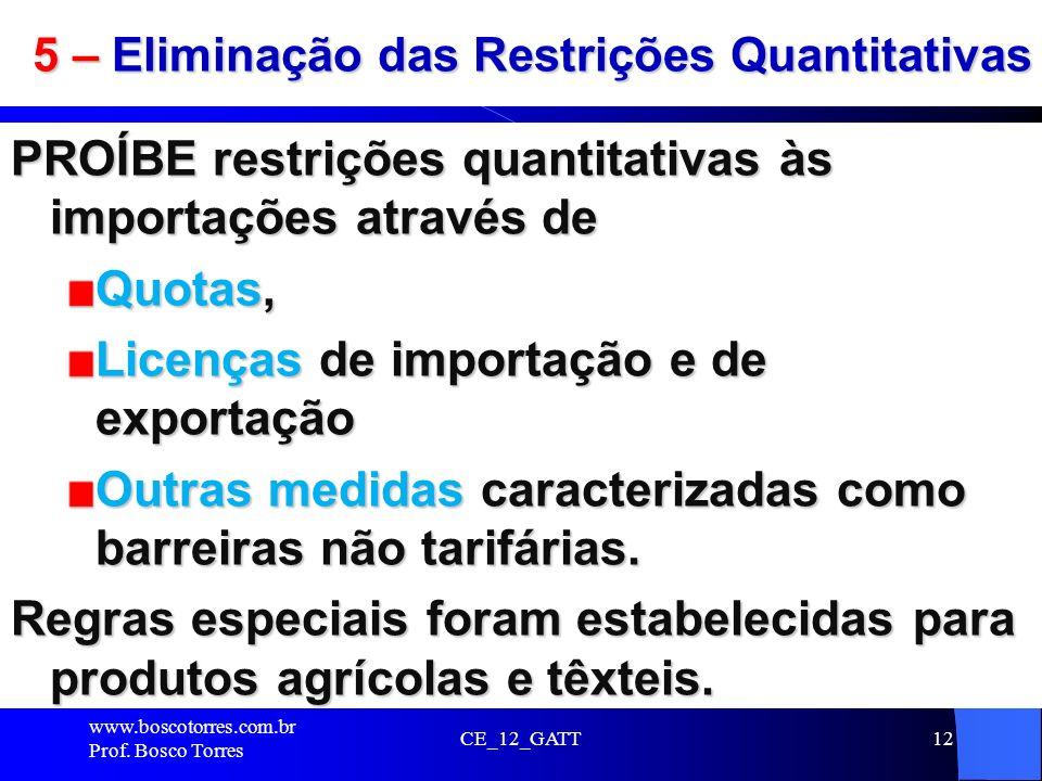 5 – Eliminação das Restrições Quantitativas