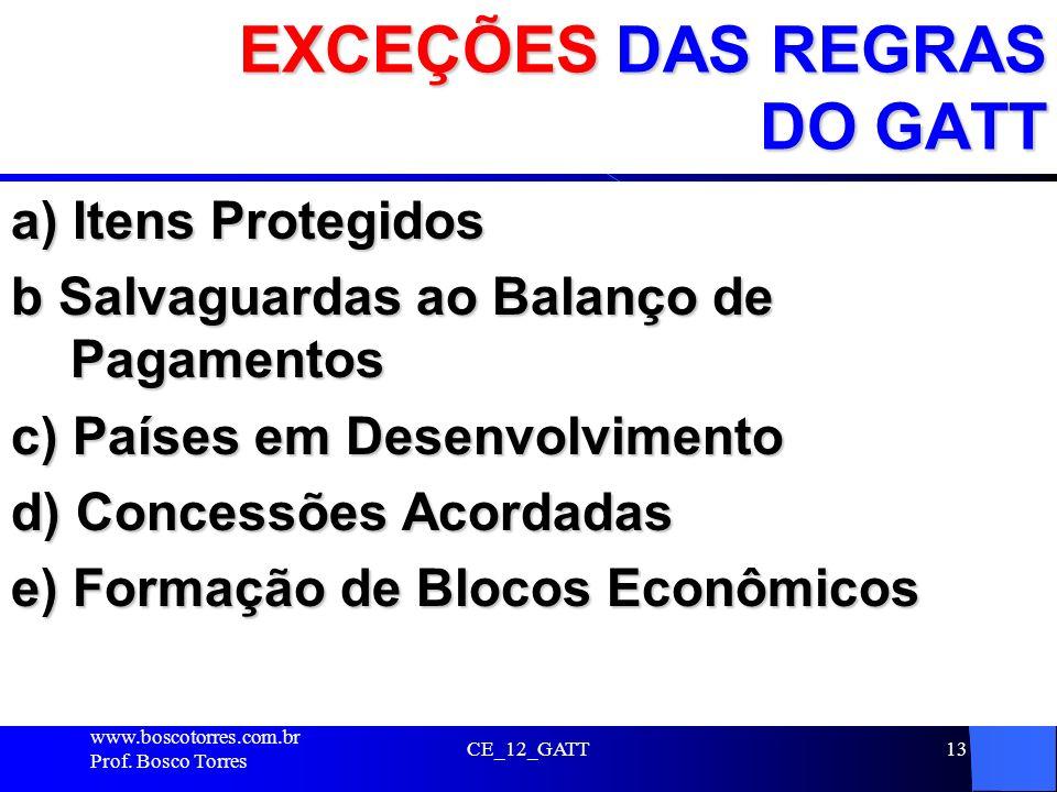 EXCEÇÕES DAS REGRAS DO GATT