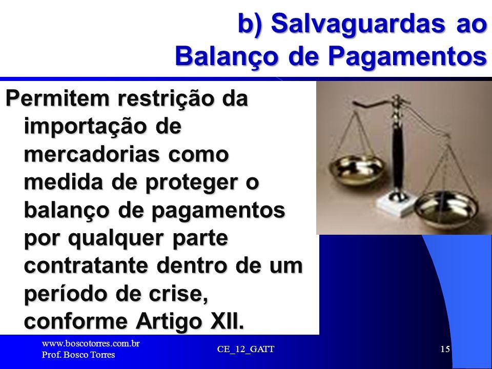 b) Salvaguardas ao Balanço de Pagamentos