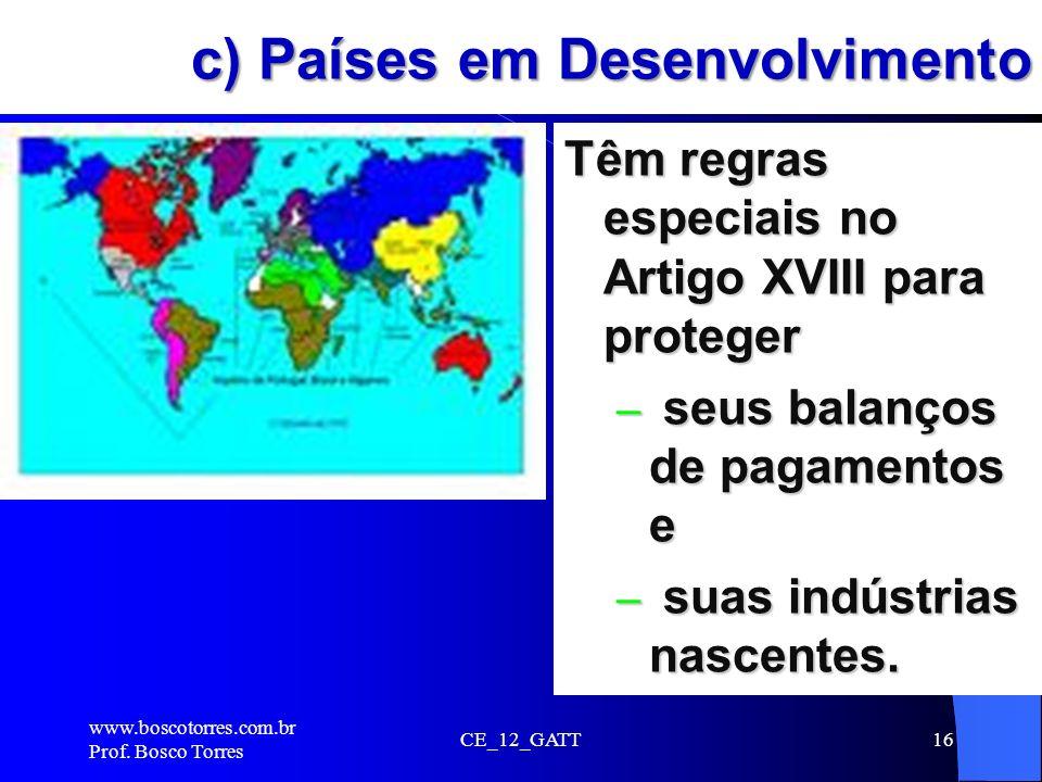 c) Países em Desenvolvimento