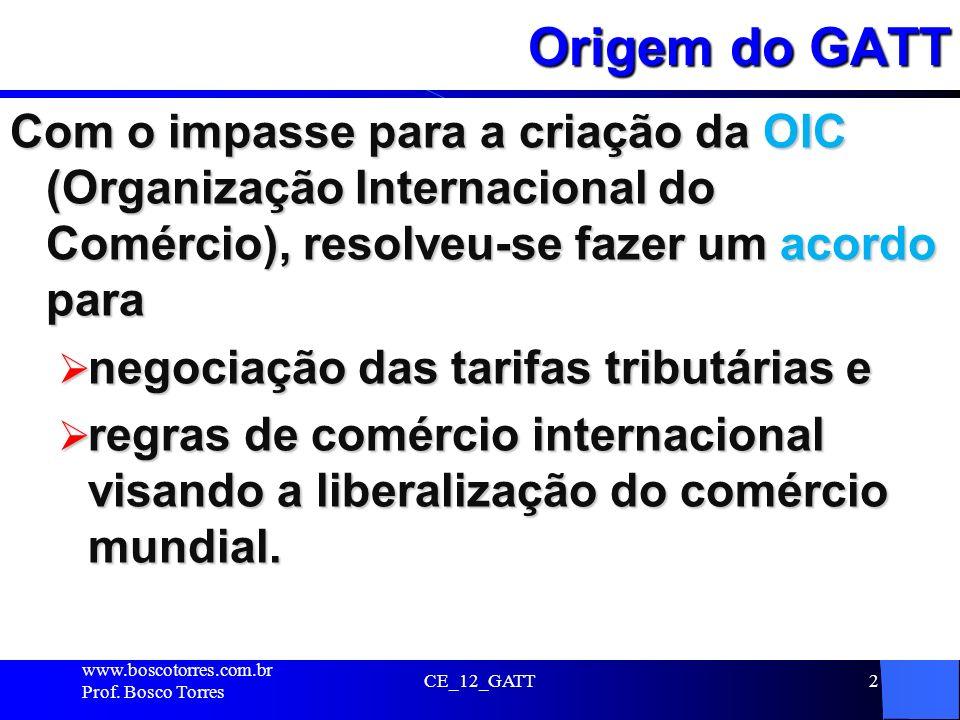 Origem do GATT Com o impasse para a criação da OIC (Organização Internacional do Comércio), resolveu-se fazer um acordo para.