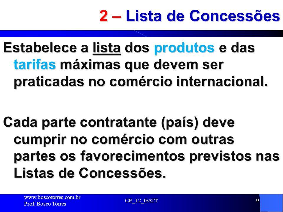 2 – Lista de Concessões Estabelece a lista dos produtos e das tarifas máximas que devem ser praticadas no comércio internacional.