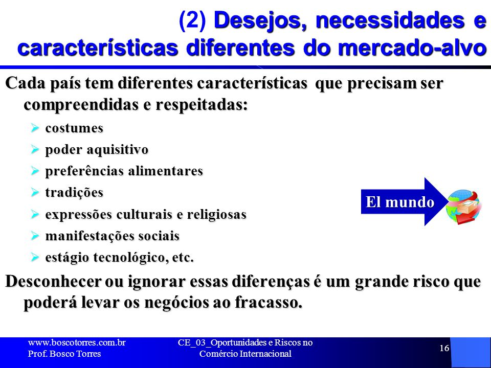(2) Desejos, necessidades e características diferentes do mercado-alvo