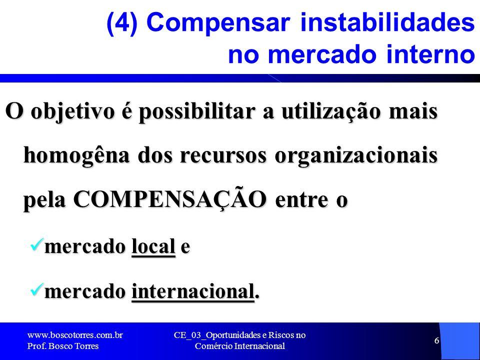 (4) Compensar instabilidades no mercado interno
