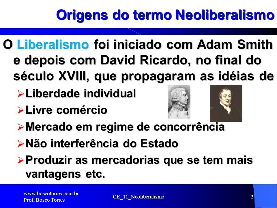 Origens do termo Neoliberalismo