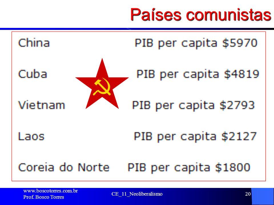 Países comunistas . www.boscotorres.com.br Prof. Bosco Torres