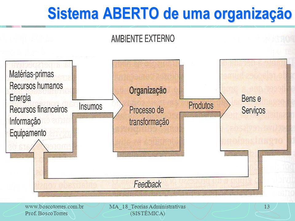 Sistema ABERTO de uma organização