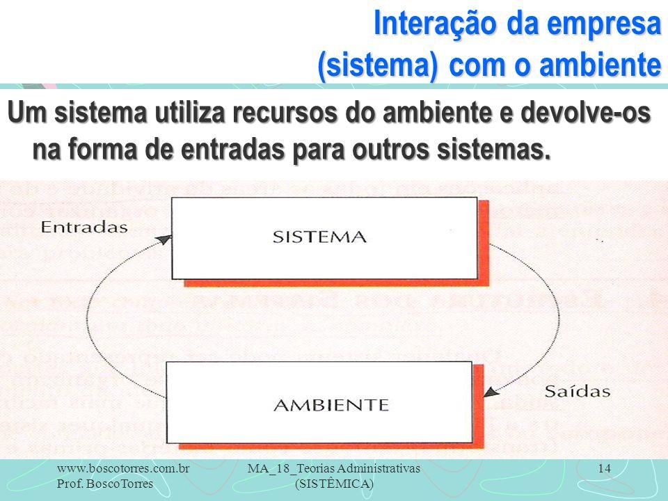 Interação da empresa (sistema) com o ambiente