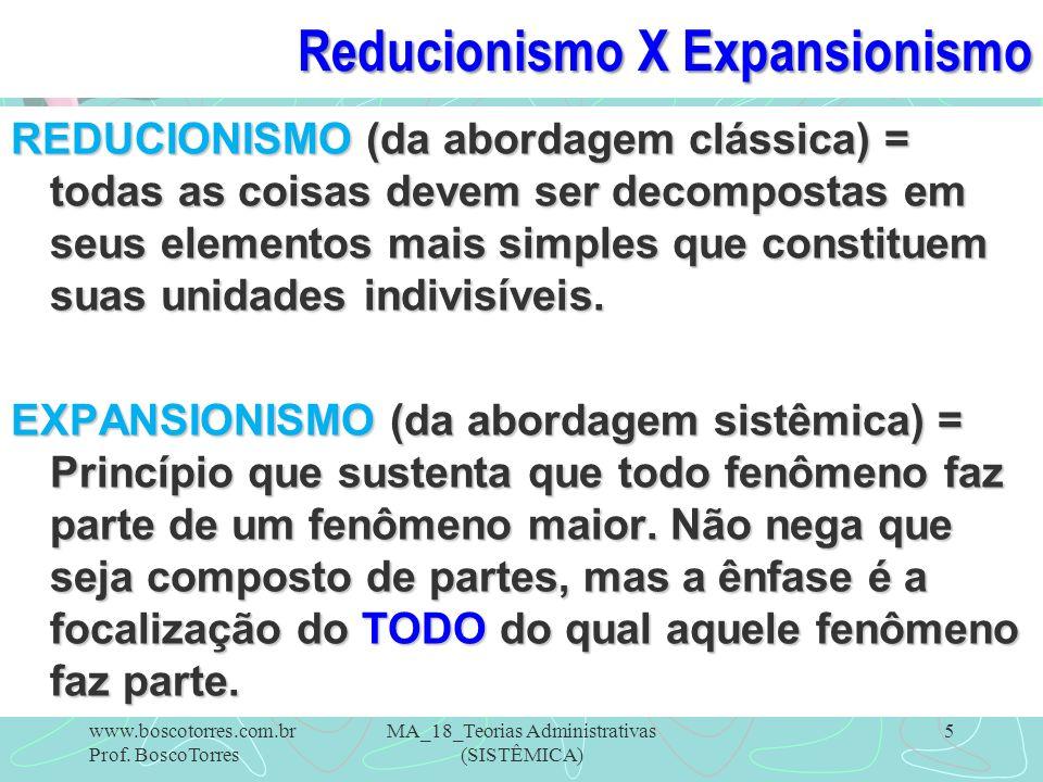 Reducionismo X Expansionismo