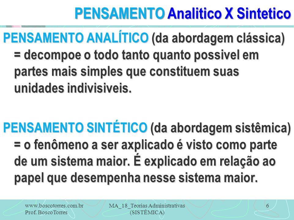PENSAMENTO Analitico X Sintetico