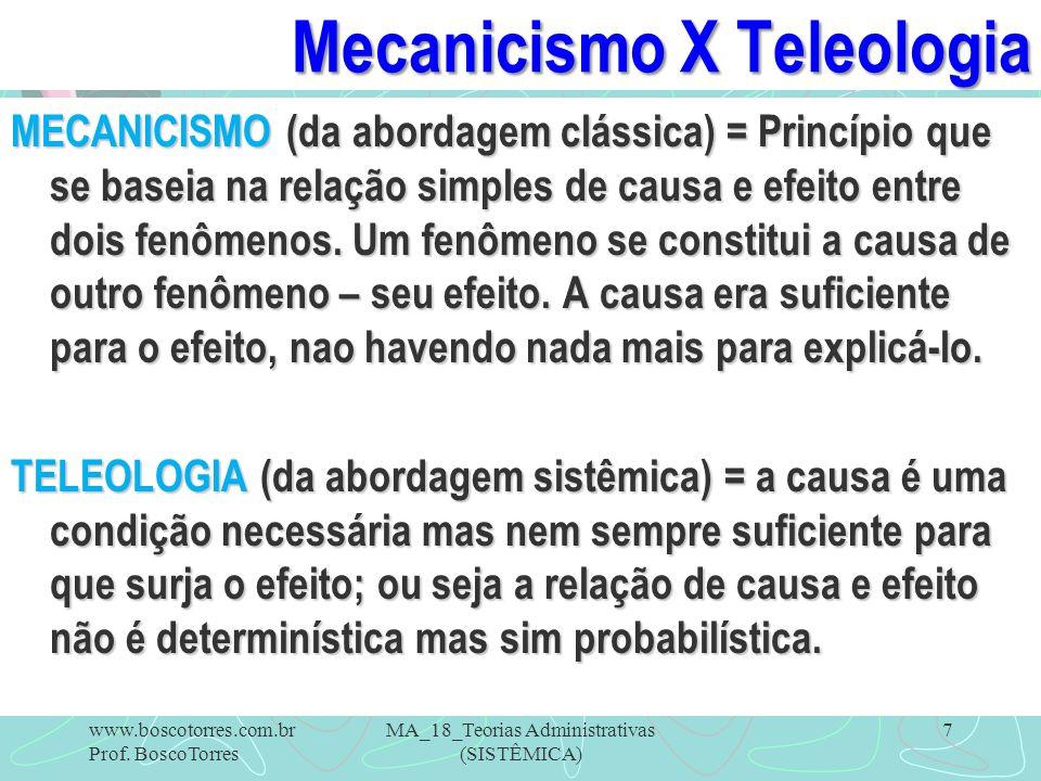 Mecanicismo X Teleologia