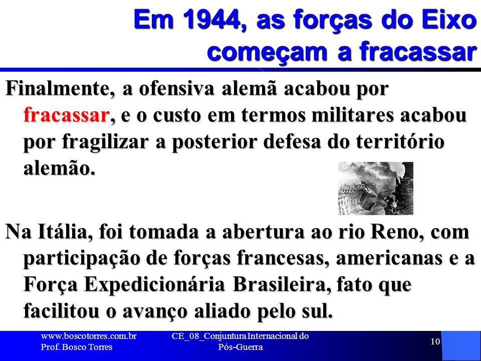 Em 1944, as forças do Eixo começam a fracassar