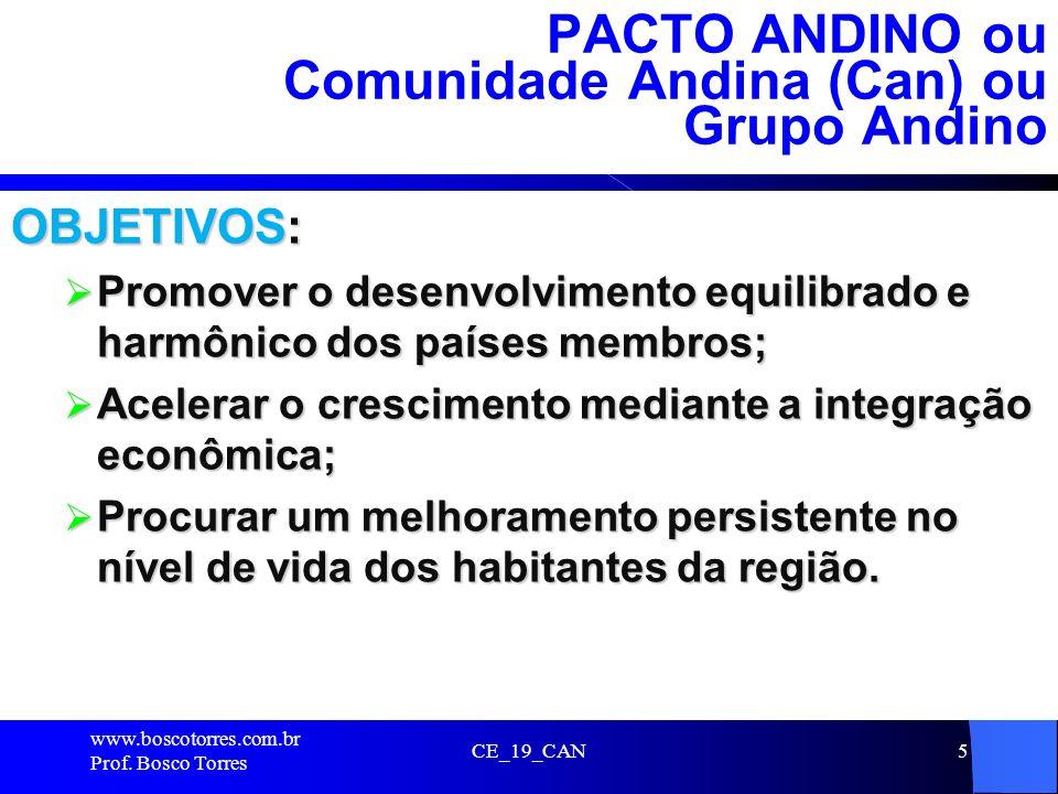 PACTO ANDINO ou Comunidade Andina (Can) ou Grupo Andino