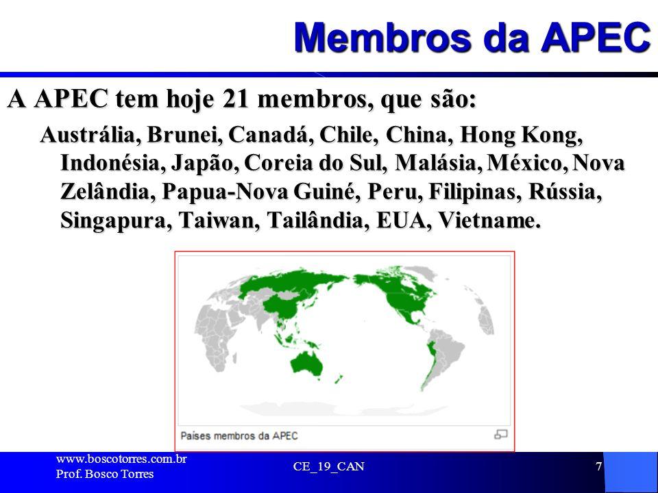 Membros da APEC A APEC tem hoje 21 membros, que são: