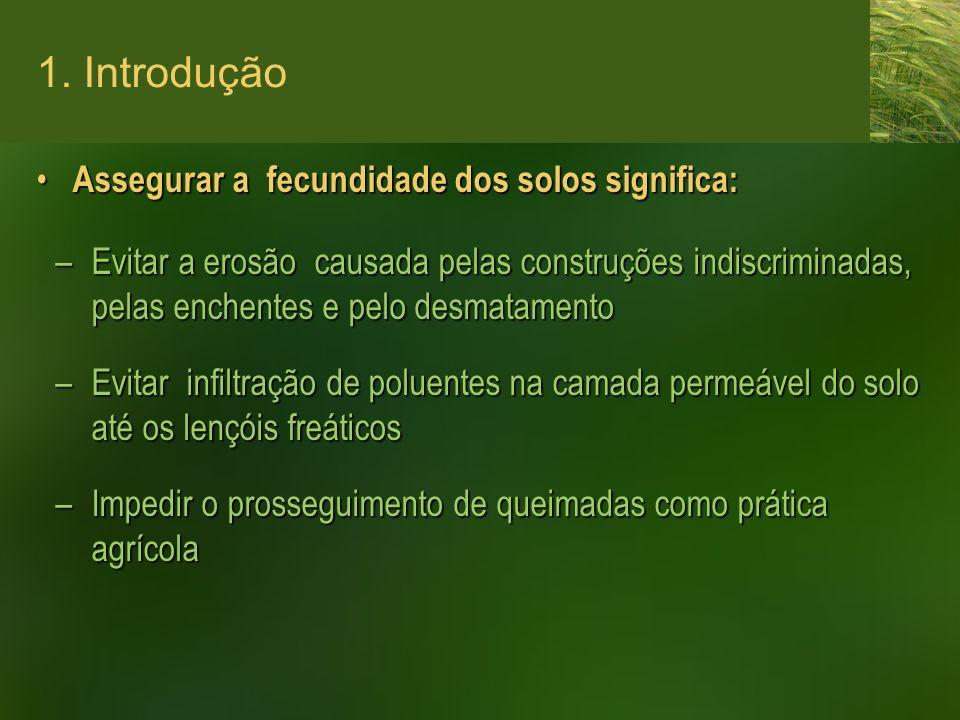 1. Introdução Assegurar a fecundidade dos solos significa: