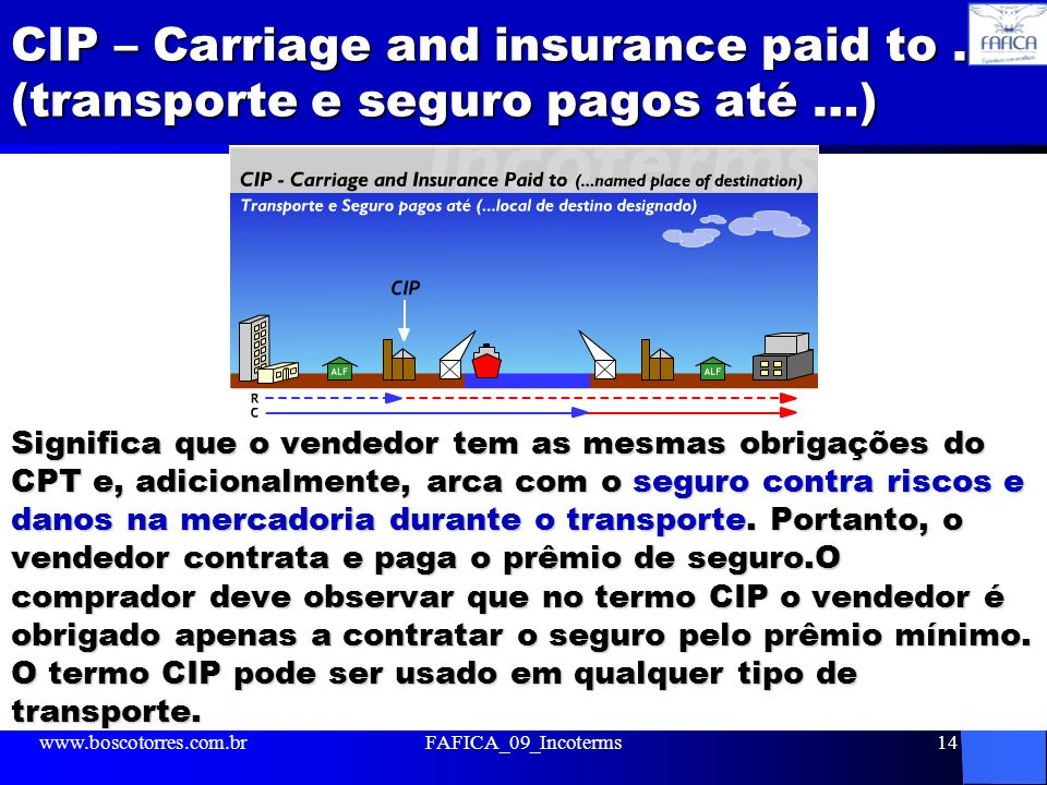CIP – Carriage and insurance paid to … (transporte e seguro pagos até …)