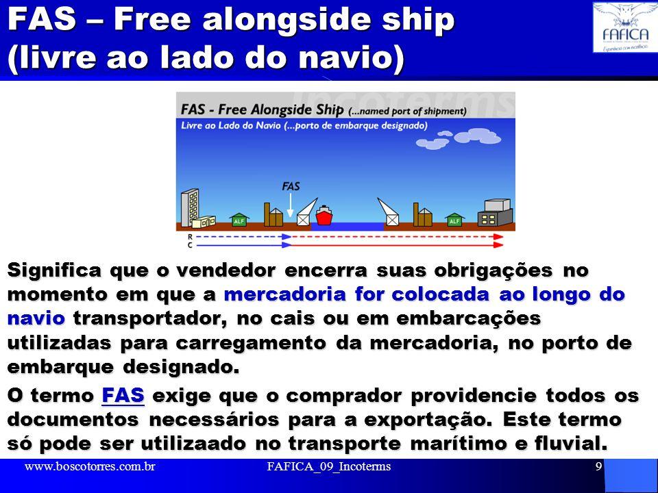 FAS – Free alongside ship (livre ao lado do navio)