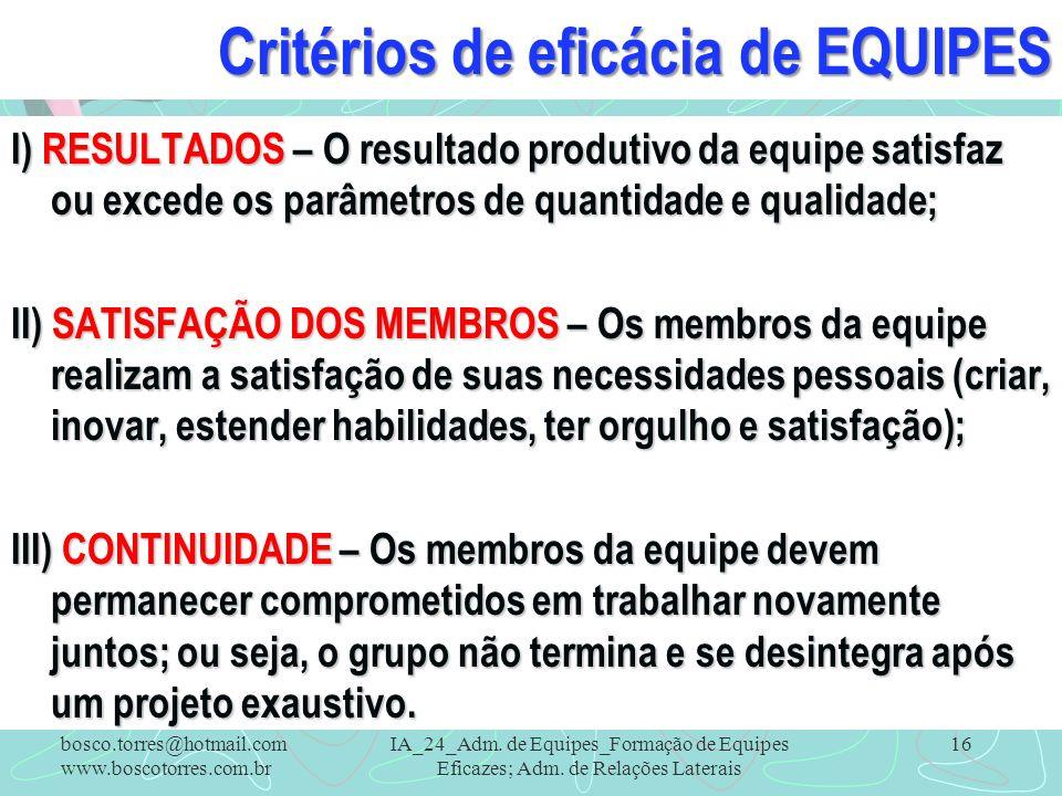 Critérios de eficácia de EQUIPES