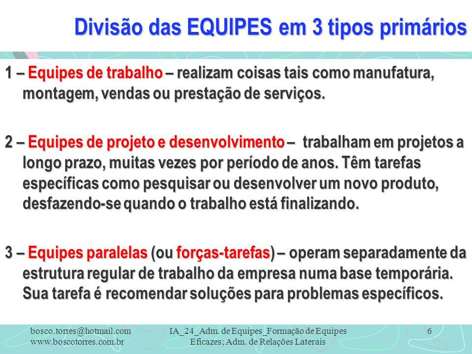 Divisão das EQUIPES em 3 tipos primários