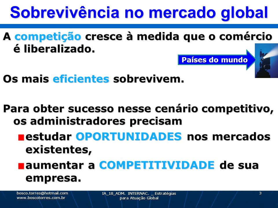Sobrevivência no mercado global