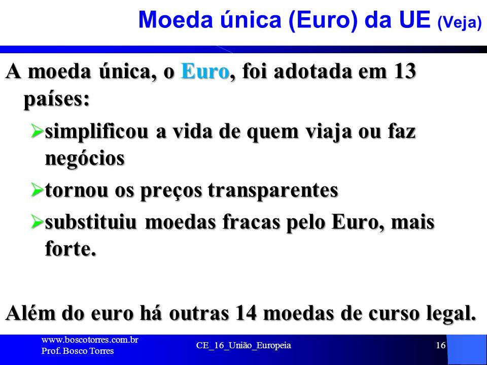 Moeda única (Euro) da UE (Veja)