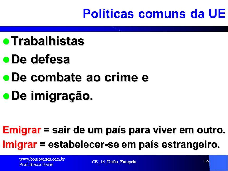 Políticas comuns da UE Trabalhistas De defesa De combate ao crime e