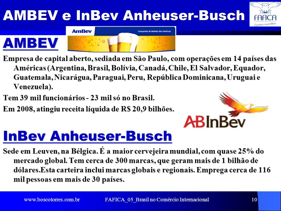 AMBEV e InBev Anheuser-Busch