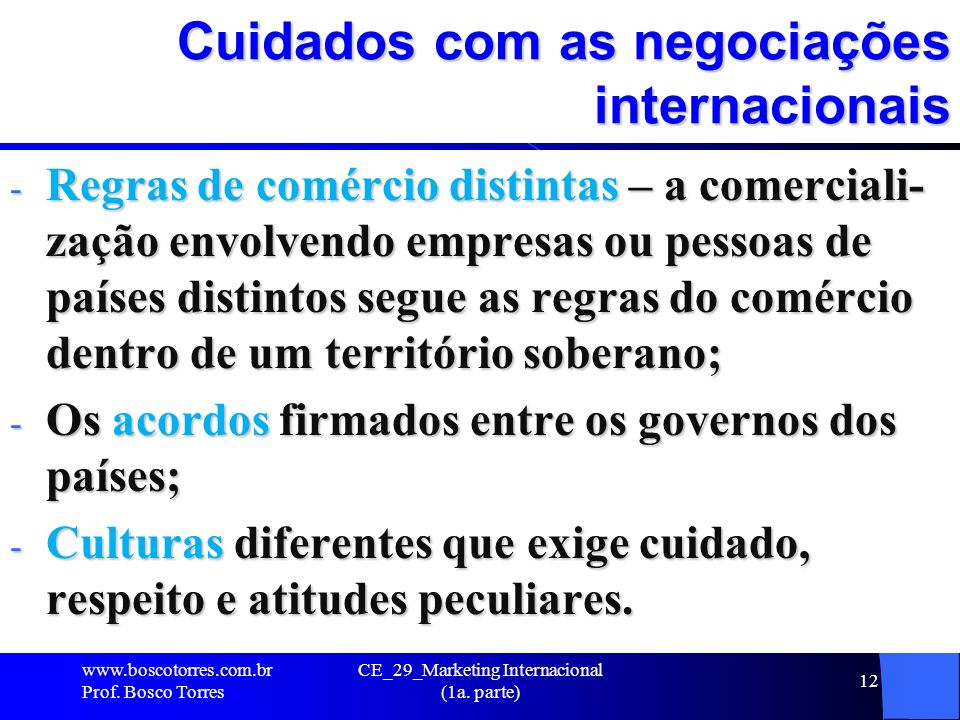 Cuidados com as negociações internacionais