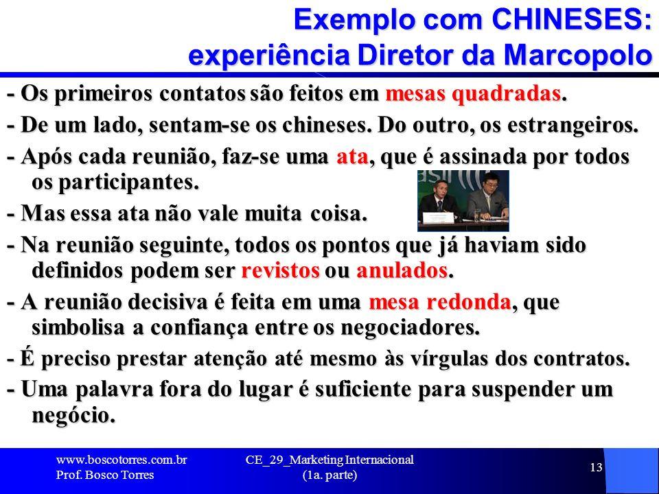 Exemplo com CHINESES: experiência Diretor da Marcopolo