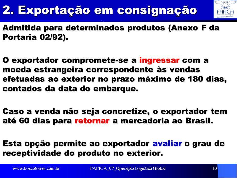 2. Exportação em consignação