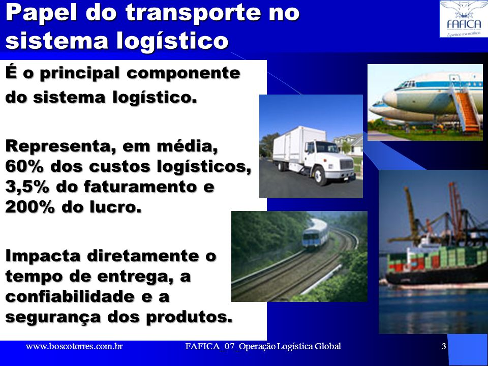 Papel do transporte no sistema logístico